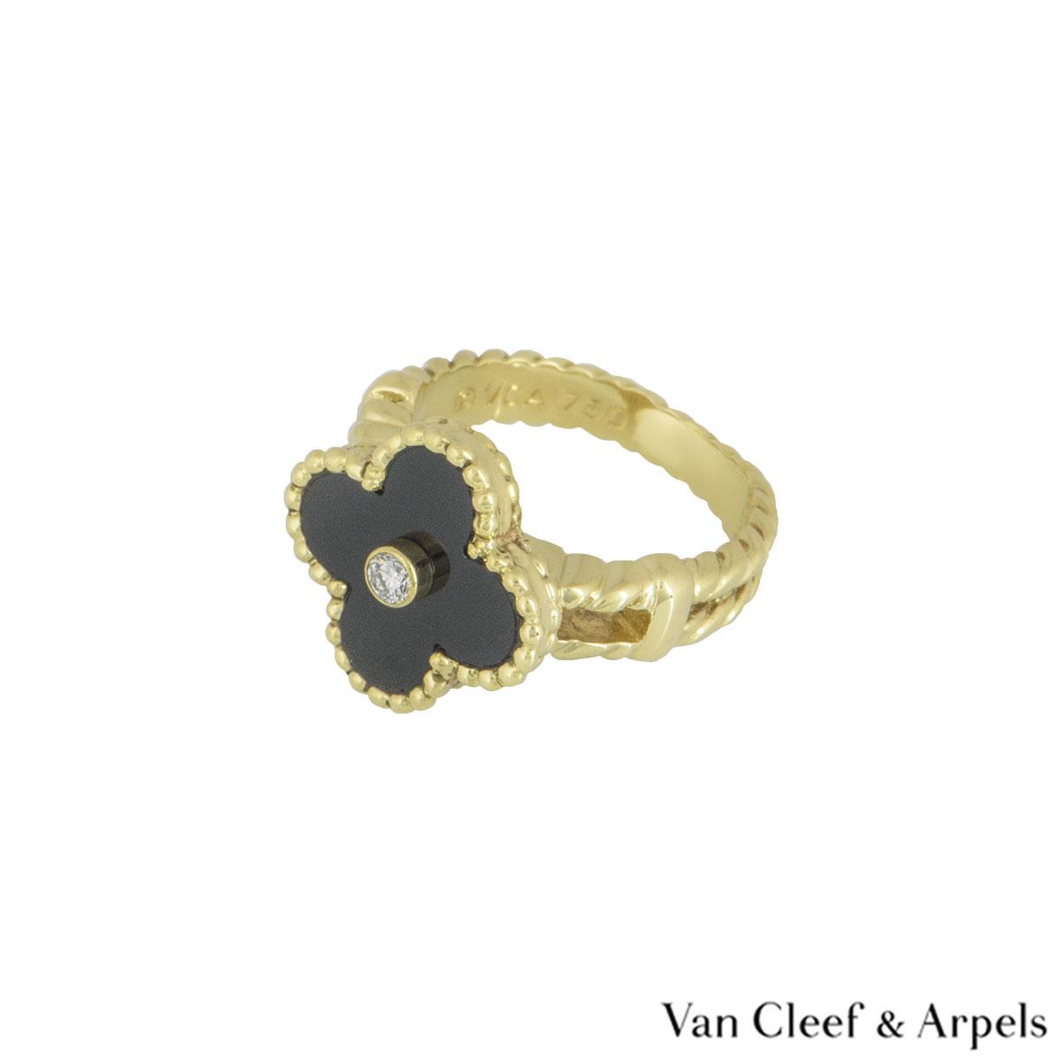 Van Cleef & ArpelsYellow Gold Diamond Alhambra Ring